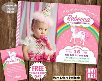 Unicorn Birthday Invitation , Pink Invitations , Girl Invite , Pink Invites , Magical Day , Rainbow , Birthday Photo Photograph BDU17/11