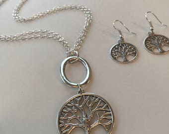 Long tree of life necklace with matching earrings