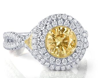 2.28 Ct Round Diamond Engagement Ring, Yellow Diamond Ring, Double Halo Engagement Ring, Infinity Ring, 14k White Gold Ring