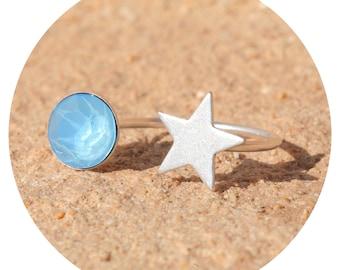 artjany summer blue-silver ring