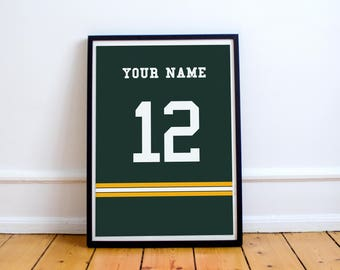Green Bay Packers - Customisable Name and Number Print.