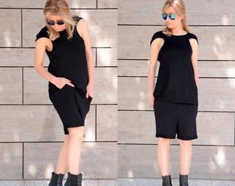 SALE Sleeveless Top / Custom Top / Plus Size Tank / Cap Sleeve Top / Oversize Top / Cotton Top / Black Shirt / Maxi Top / Tunic Top / Black
