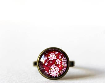 Retro 12 mm cabochon ring ° cherry red