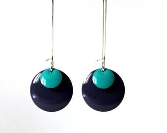 Earrings ° Sequin enamelled (purple) (Turquoise)