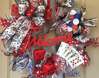 Casino Wreath with Playing Cards, Dice, Poker Chips and Unique Card-Print Ribbon
