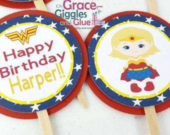 12 Superhero Girl Cupcake  Toppers,