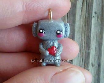 Robot charm polymer clay kawaii bead, robot pendant necklace, miniature figure, mini jewlery gift.