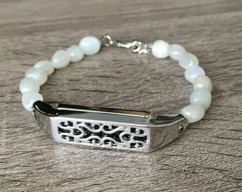White Moonstone Bracelet for Fitbit Flex 2 Activity Tracker Handmade Gemstone Silver Fitbit Flex 2 Tracker Holder Emotional Healing Band