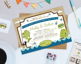 Fishing Baby Shower Printable Invitation, Reel-Y Excited Custom Baby Shower Printable Invitation