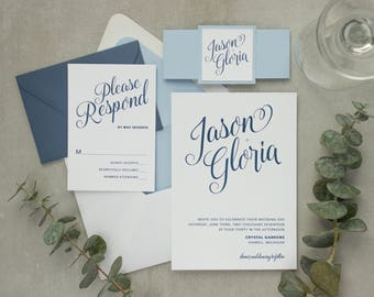 Navy blue wedding invitation. A simple, clean layout with beautiful script type