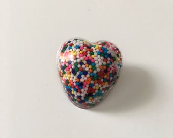 Heart Resin Pin/Broach // Resin Sprinkle Pin/Broach // Resin Accessories // Candy Pin/Broach