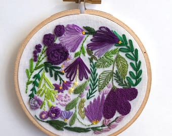 Floral exploded bouquet hand stitched embroidery hoop wall decor embroidered art