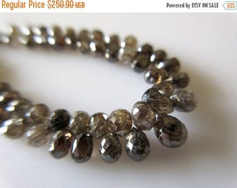 ON SALE 50% 2 Pieces 3mm Each Clear Brown Champagne Cognac Diamond Briolette Beads Matched Pairs, Raw Diamond Faceted Tear Drop Beads, DDS31