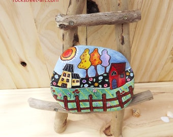 Painted rock folk art gift for her home decoration rustic decor garden design flowers tree house spring gypsy stylish Australian paperweight
