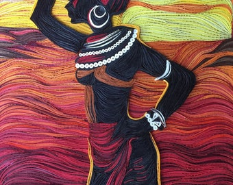 Black Woman Quilling Wall Art Picture African Landscape and Sunset - Africa Quilled Art - Africa Paper Art - Africa Quilled Style Wall Decor
