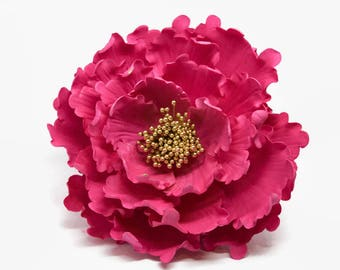 "Hot Pink and Gold Peony Sugar Flower 6"" Gumpaste Cake Topper for Weddings, Bridal Showers, Birthdays, Engagement Cakes,"