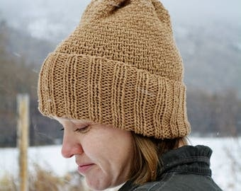 Brown Wool Knit Hat / Organic Wool Hat / Wool Winter Hat / Knitted Winter Hat