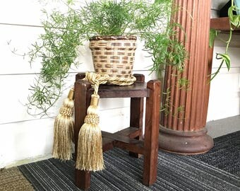 Small Antique Wood Plant Stand • Mission Style • Cottage Farmhouse Decor