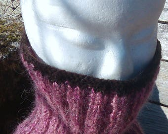 collar snood handmade fuchsia Garnet and Brown wool, mohair and acrylic