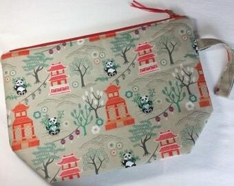 Zipped project bag - Pandas and Pagodas