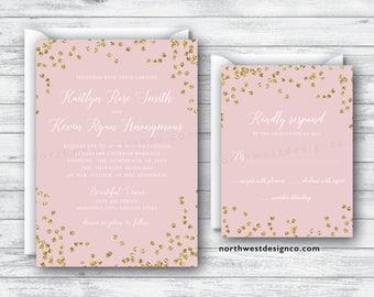 Blush Pink Script Wedding Invitation Reply Card Set Boho Suite Gold Invite RSVP