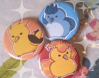 Pokemon Birds Articuno Zapdos Moltres 1.5'' Buttons