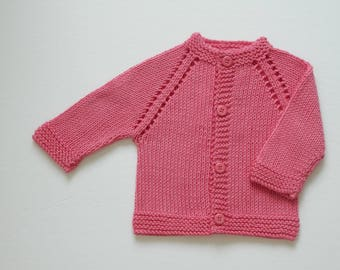 Hand Knit Baby Sweater / 0 - 3 months / Pink Baby Sweater / Hand Knit Cardigan / Baby Shower Gift / Baby Clothing
