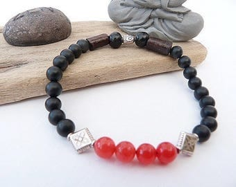 Unisex ethnic style in matte black onyx and red agate bracelet