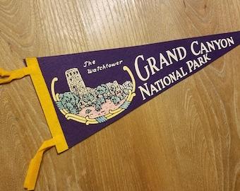 "The Watchtower Grand Canyon National Park Souvenir Pennant 17.5"" Vintage 1960s Purple Felt Color Tower Graphic"