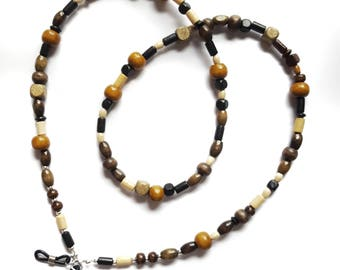 Wooden Beaded Glasses Chain - Spectacle Cord - Sunglasses Holder - strap - Retainer