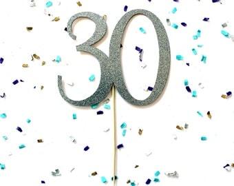 Silver Glitter Number Birthday Cake Topper | Glitter Anniversary Cake Topper | Number Cake Topper | Gold or Champagne Glitter Cake Topper