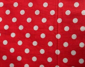 1 red white polka dots pattern 50x50cm 100% cotton fabric coupon