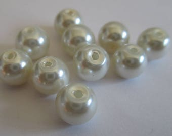 10 Pearl ecru beads painted glass 8mm (D-07)