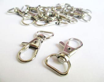 5 lobster clasps swivel silver 36x17mm