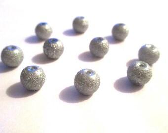 10 pearls grey brilliant glass 8mm