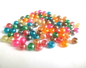 90 bead mix of brilliant glass 4mm