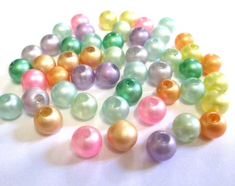 50 shiny glass beads color mix of 8mm (E-41)