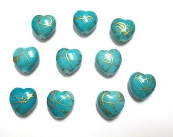 10 heart blue drawbench gold 15mm acrylic beads