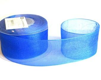 1 m 40mm electric blue organza Ribbon