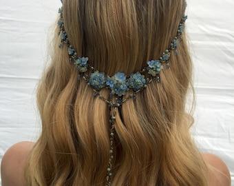 BLUE Hydranga Hanging Beaded Headband by COLLEEN TOLAND