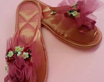 Vintage Bedroom Satin Slippers with Tulle netting & faux flowers