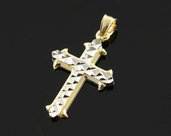 14k Two Tone Cross Faceted Charm/Pendant Gold