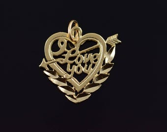 14k I Love You Word Cut Out Heart Charm/Pendant Gold