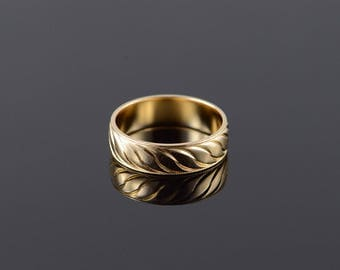 14k 5.9mm Swirl Wedding Band Ring Gold