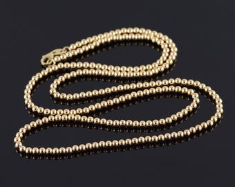 2.9mm Round Ball Beaded Chain Necklace Gold