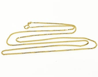 14k 1.0mm Box Link Chain Necklace Gold 20""