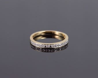 10k Diamond Inset Channel Wedding Band Ring Gold