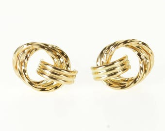14k Squared Tiered Twist Ring Circle Post Back Earrings Gold