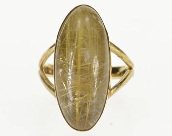 14k Oval Rutilated Quartz Bezel Set Cabochon Ring Gold