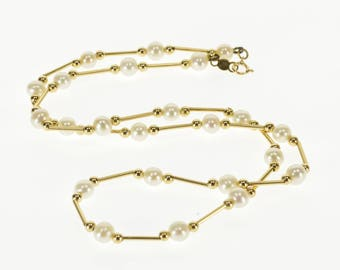 """14k 5.5mm Pearl Ball Bar Beaded Necklace Gold 18"""""""